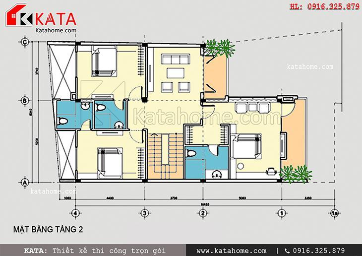 Mặt bằng bố trí tầng 2 của mẫu thiết kế biệt thự nhà ống 3 tầng hiện đại