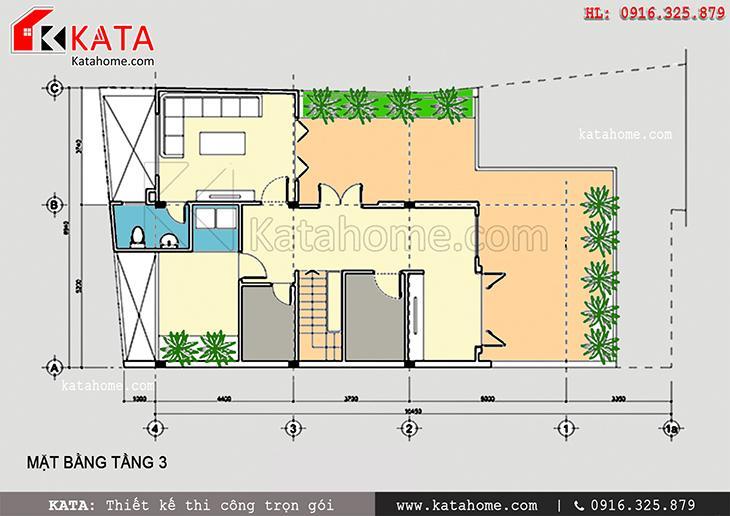 Mặt bằng bố trí tầng 3 của mẫu thiết kế biệt thự 3 tầng
