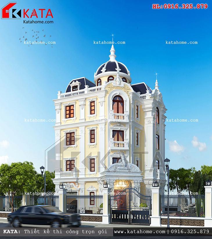 Phối cảnh mặt tiền của mẫu thiết kế lâu đài 4 tầng cổ điển - Mã số: LD 47025