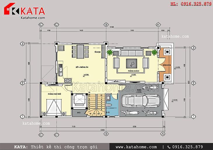 Mặt bằng bố trí nội thất tầng 1 của mẫu thiết kế biệt thự lâu đài 4 tầng