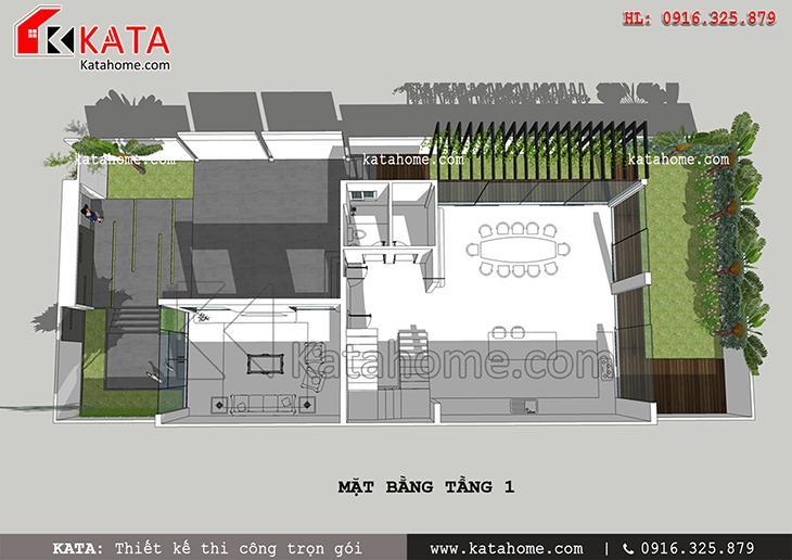 Mặt bằng bố trí tầng 1 của mẫu nhà phố hiện đại 3 tầng