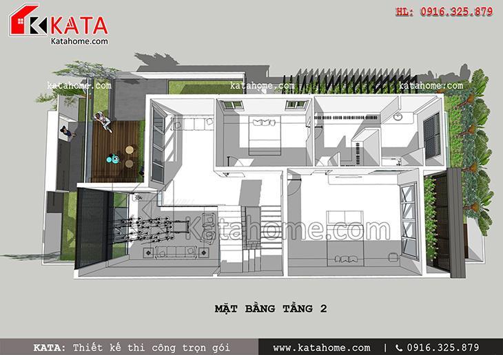 Mặt bằng bố trí tầng 2 của mẫu nhà phố hiện đại 3 tầng