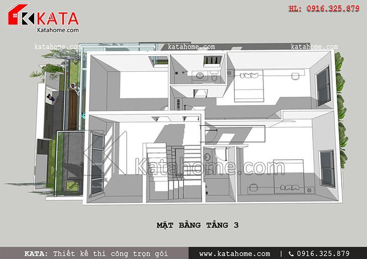 Mặt bằng bố trí tầng 3 của thiết kế nhà phố 3 tầng hiện đại