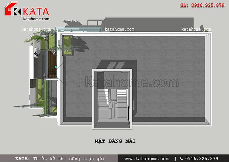 Mặt bằng tầng mái của mẫu nhà phố hiện đại 3 tầng sẽ được sử dụng trồng rau