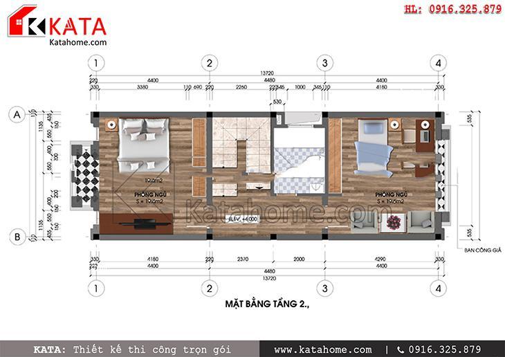 Mặt bằng bố trí nội thất tầng 2 nhà lô phố 2 mặt tiền