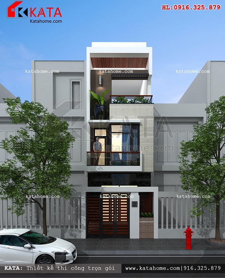 Mặt tiền của mẫu thiết kế nhà phố 5x20 3 tầng theo kiến trúc hiện đại tại Nha Trang
