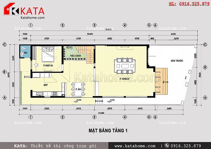 Bố trí mặt bằng tầng 1 của mẫu thiết kế biệt thự 2 tầng kiểu Pháp đẹp