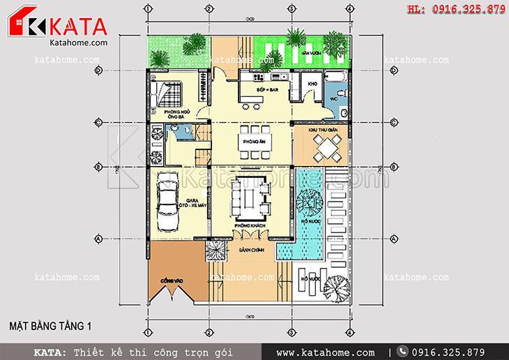 Mặt bằng bố trí tầng 1 của mẫu thiết kế biệt thự 3 tầng hiện đại