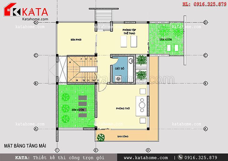 Mặt bằng bố trí công năng tầng 3 của mẫu thiết kế biệt thự 3 tầng hiện đại