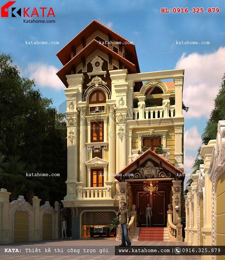 Tiền sảnh sang trọng của mẫu thiết kế biệt thự 3 tầng tân cổ điển kiểu Pháp