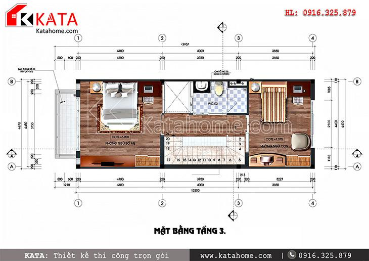 Mặt bằng công năng tầng 3 của mẫu thiết kế nhà phố đẹp 4 tầng