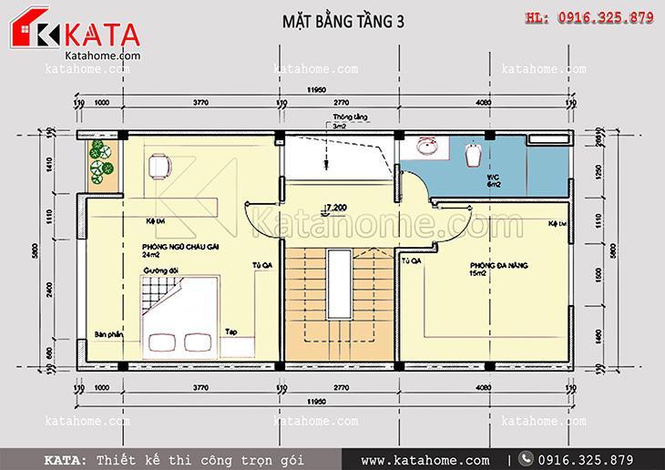 Mặt bằng tầng 3 của mẫu nhà phố đẹp 4 tầng hiện đại