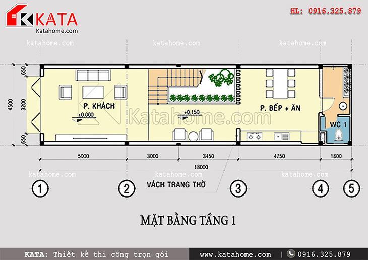 Mặt bằng công năng tầng 1 của thiết kế nhà phố 4 tầng đẹp hiện đại