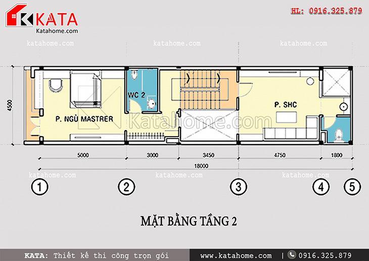 Mặt bằng bố trí tầng 2 trong bản thiết kế nhà phố 4 tầng đẹp hiện đại - Mã số: NP47058