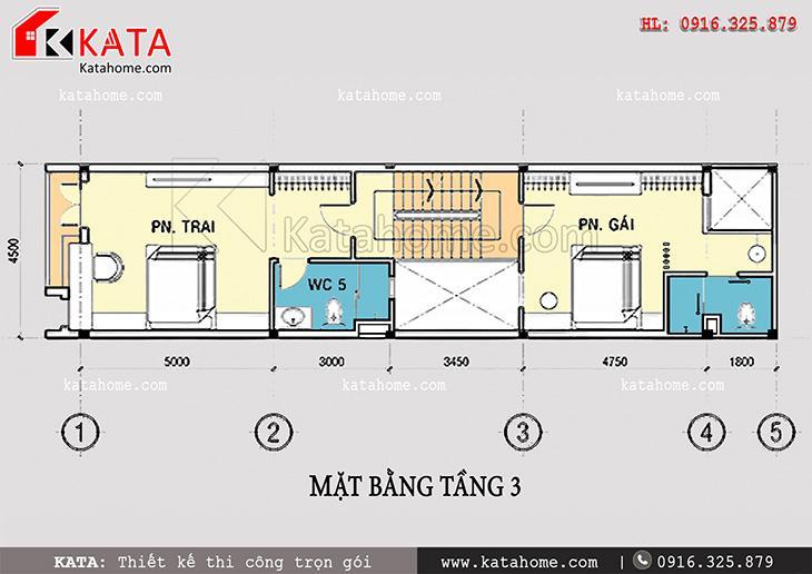 Mặt bằng bố trí tầng 3 cho thiết kế nhà phố 4 tầng đẹp hiện đại