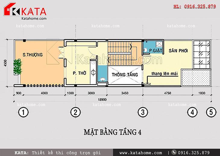 Mặt bằng bố trí tầng 4 cho mẫu thiết kế nhà phố 4 tầng đẹp hiện đại mang mã số NP 47058