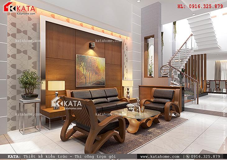 Không gian phòng khách hiện đại, tối đơn giản và tiện nghi mẫu nhà phố 4 tầng hiện đại