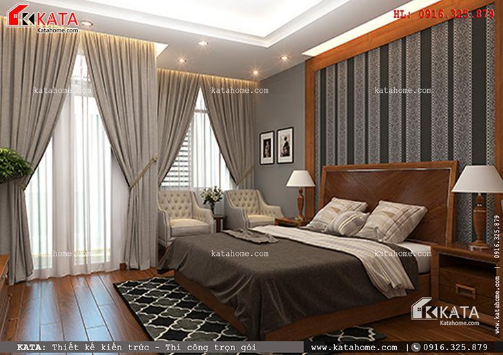 Đồ đạc được bố trí hợp lý kết hợp với sàn gỗ tạo sự ấm cúng và sang trọng cho không gian phòng ngủ nhà phố 4 tầng