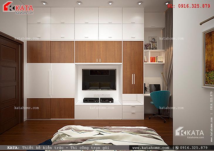 Phòng ngủ dành cho các con của mẫu thiết kế nhà phố 4 tầng đẹp hiện đại được bố trí nội thất hiện đại theo phong cách giản tiện ấn tượng