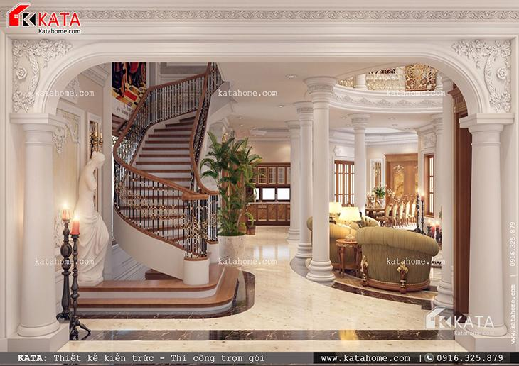Không gian phòng ăn, phòng khách, phòng bếp và khu vực cầu thang được thiết kế hài hòa, đẳng cấp