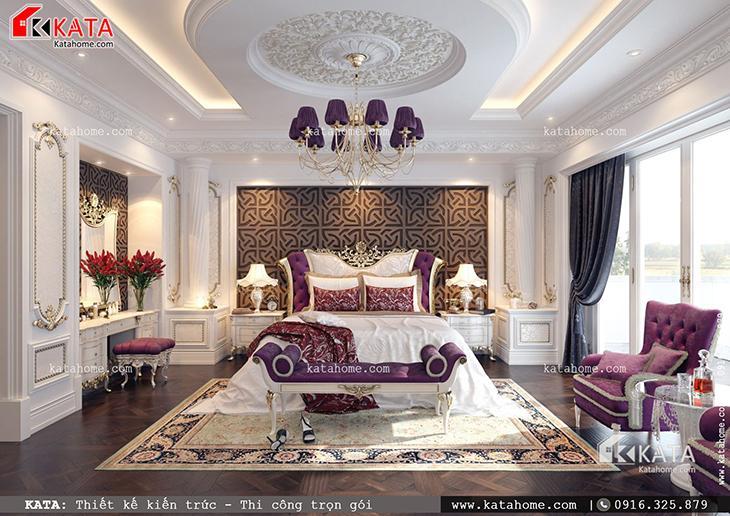 Không gian phòng ngủ của mẫu biệt thự lâu đài kiểu Pháp được thiết kế sang trọng, đẳng cấp (1)