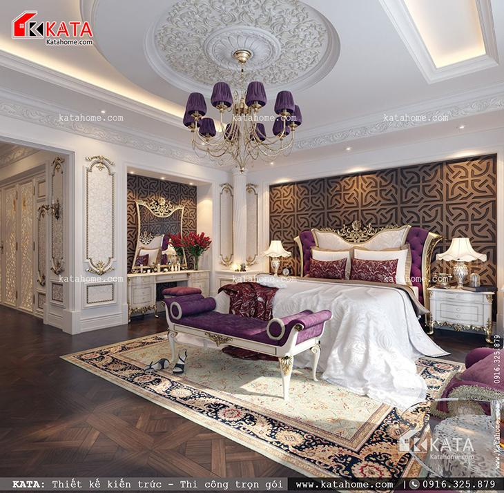 Không gian phòng ngủ của mẫu biệt thự lâu đài kiểu Pháp được thiết kế sang trọng, đẳng cấp