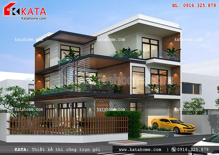 Thiết kế biệt thự, thiết kế nhà liền kề đẹp 2 tầng, thi công trọn gói, Thiết kế biệt thự hiện đại 3 tầng (1)