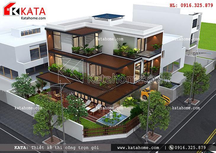 Thiết kế biệt thự, thiết kế nhà liền kề đẹp 2 tầng, thi công trọn gói, Thiết kế biệt thự hiện đại 3 tầng (4)