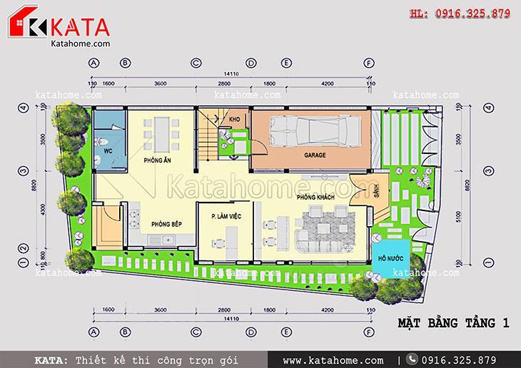 Thiết kế biệt thự, thiết kế nhà liền kề đẹp 2 tầng, thi công trọn gói, Thiết kế biệt thự hiện đại 3 tầng (5)