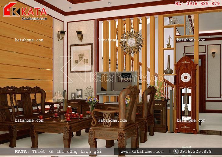 Bàn ghế trong phòng khách của mẫu biệt thự 3 tầng kiến trúc Pháp được trạm khắc tinh tế toát lên sự sang trọng, quý phái (1)