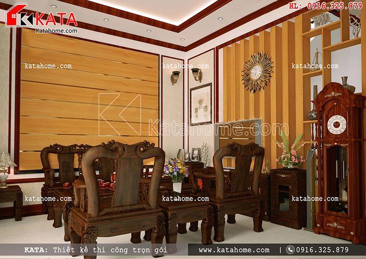Bàn ghế trong phòng khách của mẫu biệt thự 3 tầng kiến trúc Pháp được trạm khắc tinh tế toát lên sự sang trọng, quý phái