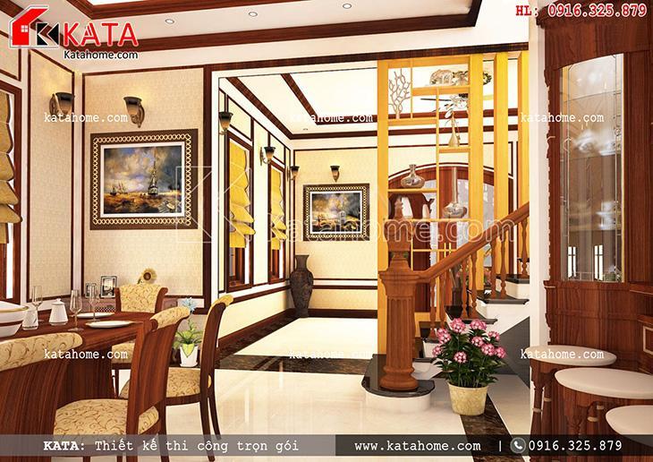 Khu vực phòng ăn của mẫu thiết kế biệt thự 3 tầng phong cách Pháp vô cùng lịch lãm và sang trọng