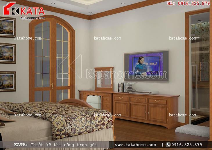 Phòng ngủ của mẫu thiết kế biệt thự 3 tầng phong cách Pháp đơn giản và nhẹ nhàng