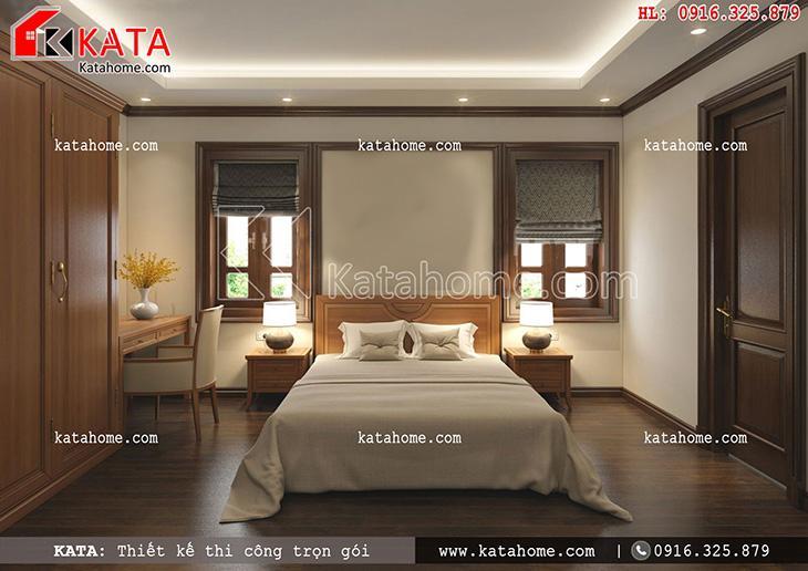 Không gian phòng ngủ của mẫu biệt thự Pháp 3 tầng được thiết kế đơn giản nhưng vô cùng ấm cúng, sang trọng (2)