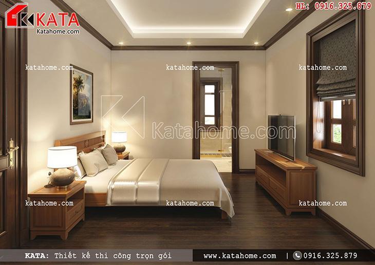 Không gian phòng ngủ của mẫu biệt thự Pháp 3 tầng được thiết kế đơn giản nhưng vô cùng ấm cúng, sang trọng