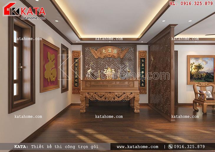 Nội thất phòng thờ kết hợp phòng trà thiết kế theo kiểu truyền thống (2)