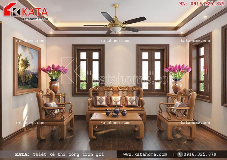 Nội thất phòng thờ kết hợp phòng trà thiết kế theo kiểu truyền thống
