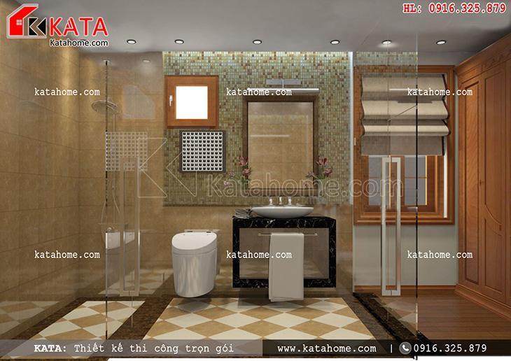 Nội thất cao cấp được đưa vào để thiết kế nội thất biệt thự tân cổ điển cho phòng WC