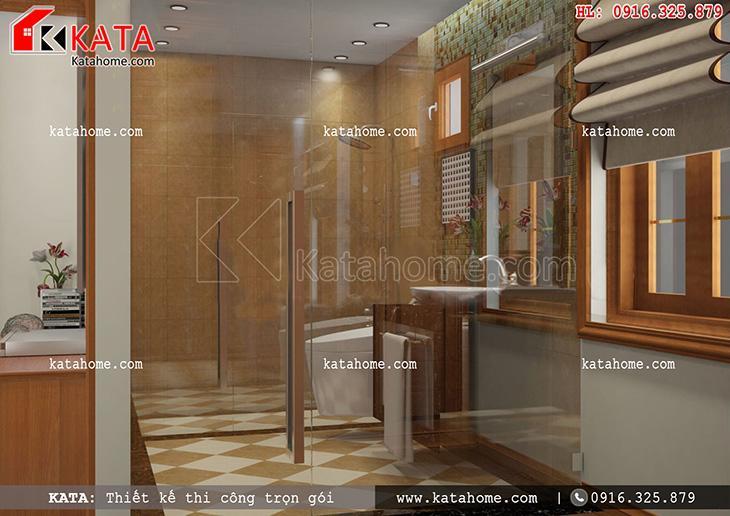 Phòng vệ sinh của thiết kế nội thất biệt thự Pháp 3 tầng với nội thất cao cấp