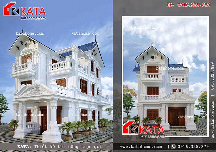 Biệt thự nhà vườn 3 tầng đẹp với kiến trúc tân cổ điển – Mã số: BT 37021