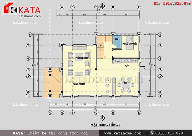 Mặt bằng bố trí công năng tầng 1 của mẫu biệt thự nhà vườn 3 tầng đẹp