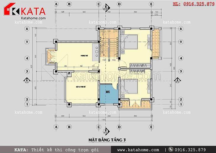 Mặt bằng bố trí công năng tầng 3 của mẫu biệt thự nhà vườn 3 tầng đẹp