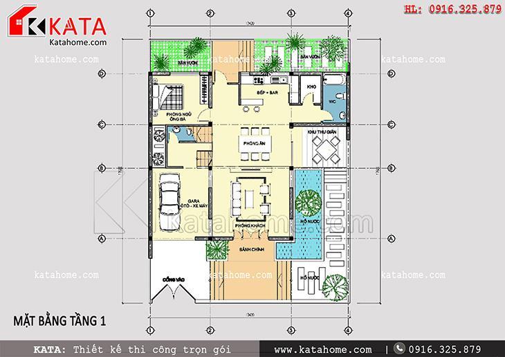 Mặt bằng bố trí công năng tầng 1 của mẫu biệt thự 3 tầng 2 mặt tiền