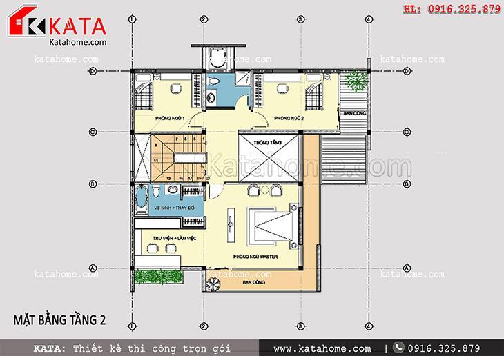 Mặt bằng bố trí công năng tầng 2 của bản thiết kế biệt thự 3 tầng 2 mặt tiền