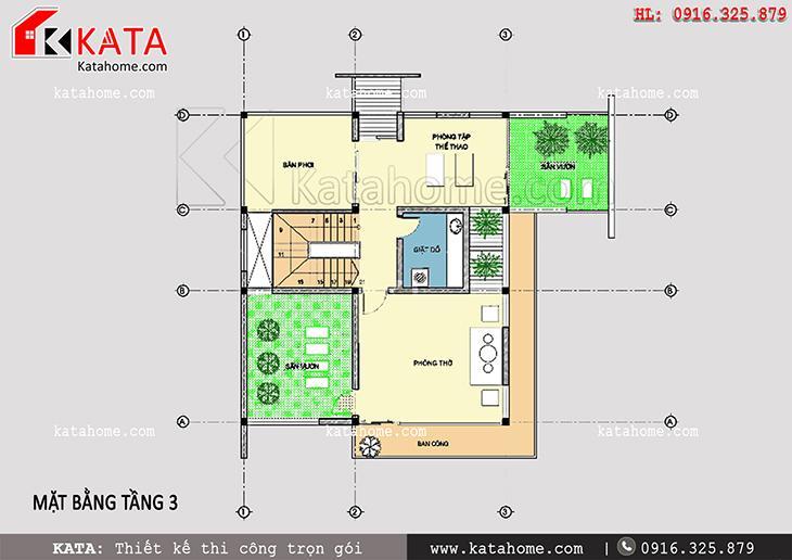 Mặt bằng bố trí công năng tầng 3 của mẫu biệt thự 3 tầng 2 mặt tiền