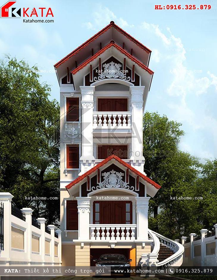 Mặt tiền của mẫu thiết kế nhà phố 4 tầng theo phong cách kiến trúc tân cổ điển