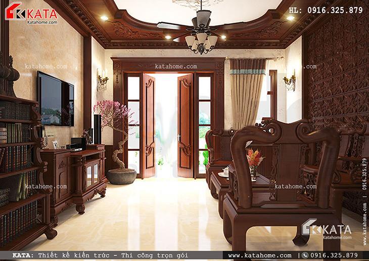 Phòng khách của mẫu thiết kế nhà phố 4 tầng đẳng cấp với nội thất gỗ đẹp và ấn tượng