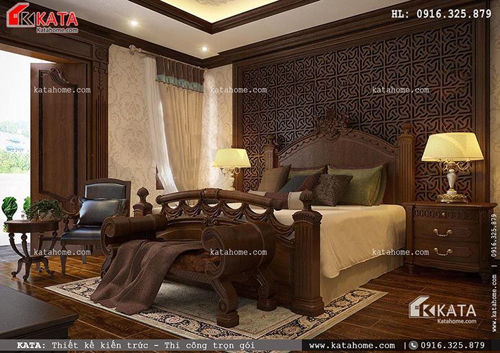 Nội thất phòng ngủ Master của mẫu thiết kế nhà phố 4 tầng sang trọng theo phong cách kiến trúc tân cổ điển