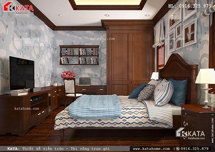 Thiết kế phòng ngủ cho mẫu nhà phố 4 tầng với hai tone màu đối lập vô cùng cá tính