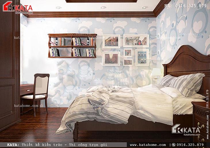 Phòng ngủ cho con của bản thiết kế nhà phố 4 tầng yên tĩnh và ấm cúng với nội thất gỗ đẹp